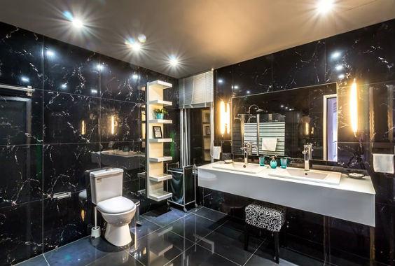 ... Badezimmer Schwarz Wohndesign ...
