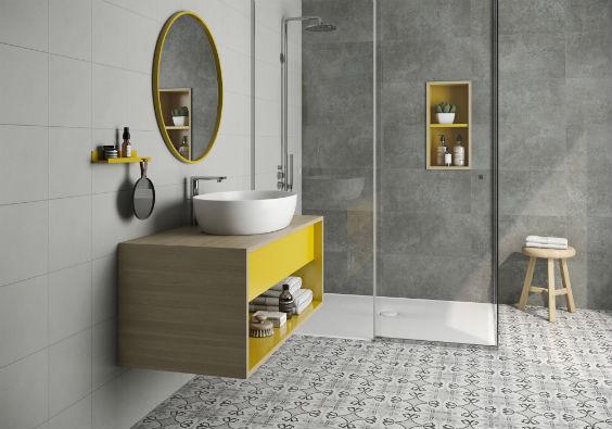 badezimmer mit zementfliesen grundlagen auswahl verlegen. Black Bedroom Furniture Sets. Home Design Ideas