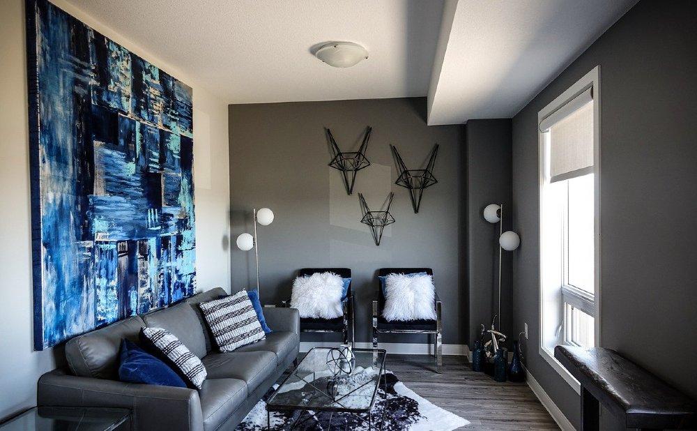 kunst wohnzimmer blau schmal 1000