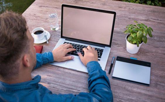 Laptop Garten Mann