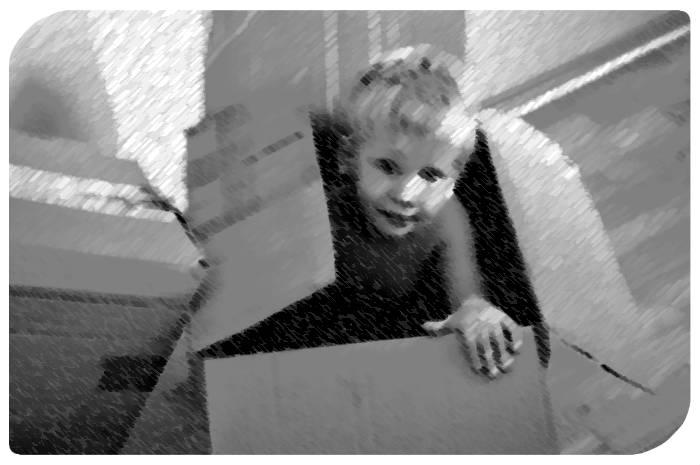 Junge in Karton