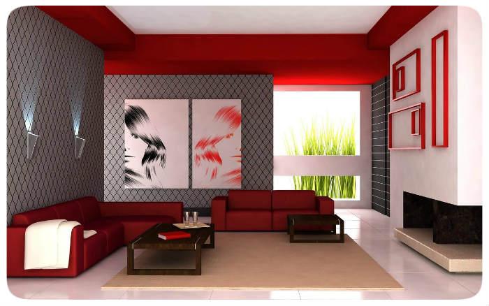 wohnraum rot